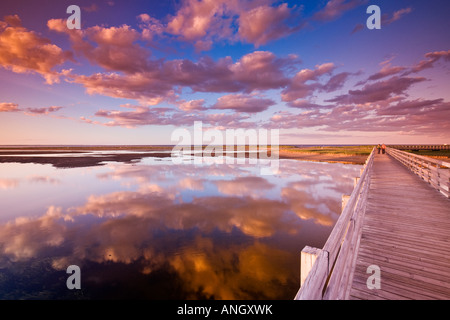 People on the Kellys beach boardwalk across the lagoon to the beaches and dunes on the Barrier Islands, Kouchibouguac - Stock Photo