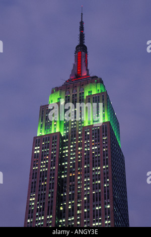 New York City Empire State Building with Red and Green Christmas Lights USA - Stock Photo