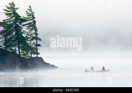 Canoeing on Lake of Two Rivers, Algonquin Provincial Park, Ontario, Canada. - Stock Photo