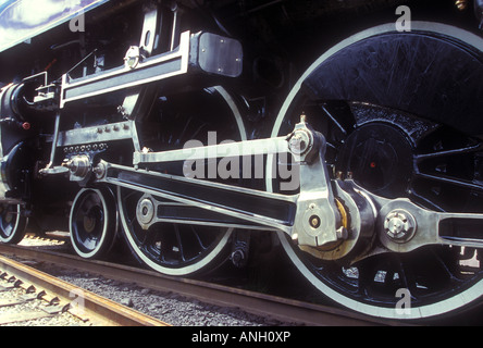 Train wheels of the Royal Hudson steam engine, British Columbia, Canada. - Stock Photo