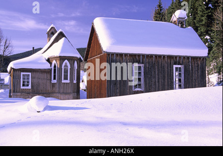 St Saviour's Church in morning light in the historic mining town of Barkerville is located just outside of Bowron - Stock Photo