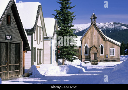 Main Street and St Saviour's Church in morning light in the historic mining town of Barkerville is located just - Stock Photo