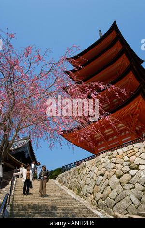 Five-storied Pagoda, Miyajima, Hiroshima, Japan - Stock Photo