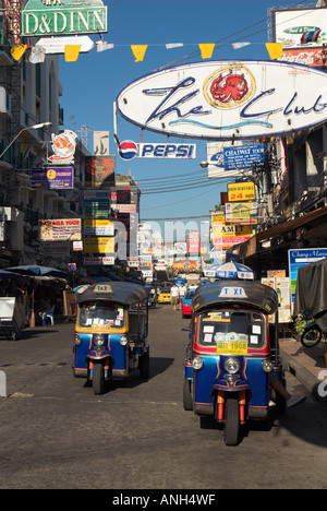 Tuk-Tuks, Khao San Road, Bangkok, Thailand - Stock Photo