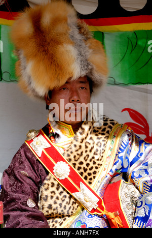 Tibetan  minority wedding parent father waiting bride and groom express one's thanks father - Stock Photo