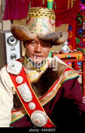 Tibetan wedding party ,this is groom - Stock Photo