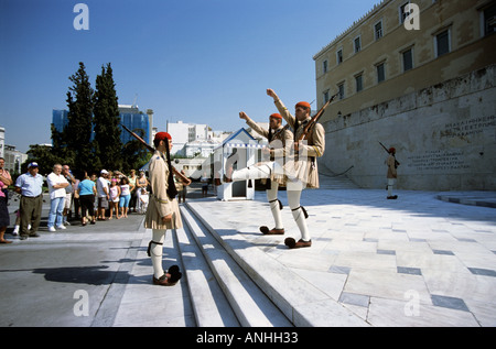 Greek soldier in traditional dress outside the Tomb of the Unknown soldier Syntagma Square Athens Greece - Stock Photo