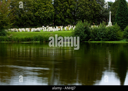 Ramparts British Cemetery by Lille Gate in Ypres Belgium - Stock Photo