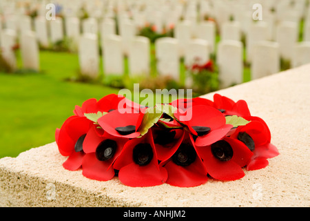 Wreath of poppies at the Delville Wood British cemetery in the Somme in France - Stock Photo