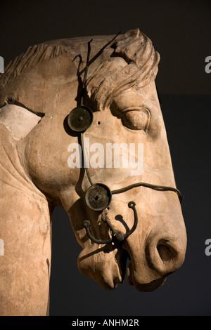 Greek equestrian statue- British Museum - Stock Photo