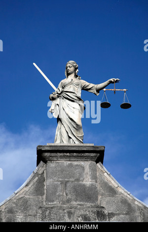 Lady of Justice Statue at Dublin Castle. - Stock Photo