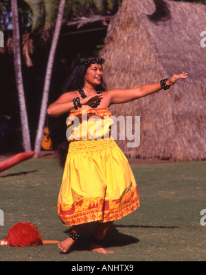 U S A Hawaii Oahu Honolulu hula show dancer - Stock Photo