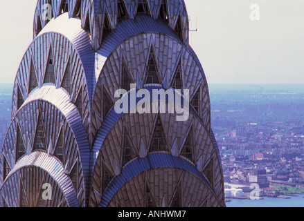 Chrysler Building Art Deco architecture. Aerial view. Midtown Manhattan, New York City and 42nd street. Close up detail of crown. USA.