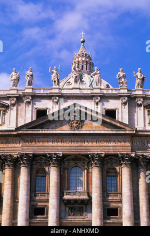 Europe Rome Italy Vatican City St Peter's Basilica Facade Exterior - Stock Photo