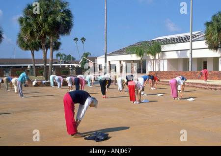 Senior females exercise as part of a daily routine Sun City
