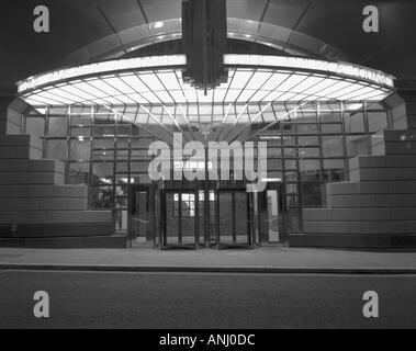 bank of america entrance in the city of london england in black and white - Stock Photo
