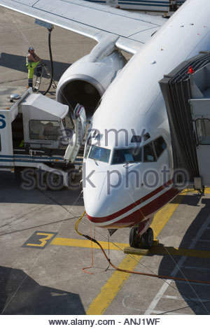 airliner jet airport air transport travel ground crew communication service check ready Air Berlin Duesseldorf Germany - Stock Photo