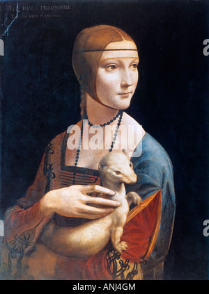 Portrait of Cecilia Gallerani (Lady with an Ermine) by Leonardo da Vinci - Stock Photo