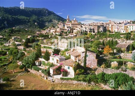 Village of Valldemosa on Mallorca Island hillside in Balearic Islands off Spain - Stock Photo