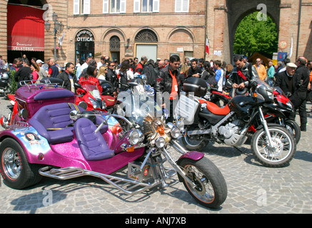 Annual motorbike rally in the charming small hilltop town of Amandola in Le Marche,the Marches, Italy - Stock Photo