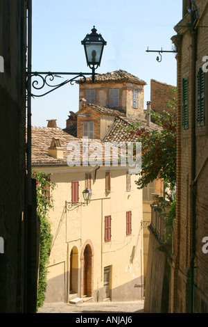 Charming corner of the beautiful small town of Offida in Le Marche, Italy - Stock Photo