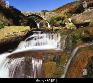 Old Packhorse Bridge and River Dane, Three Shires Head, Peak District National Park, Derbyshire, England, UK - Stock Photo