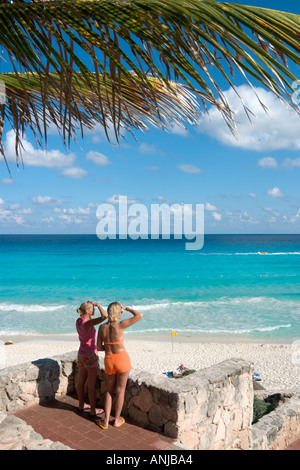Beach outside the Caribbean Village Hotel, Cancun, Yucatan Peninsula, Mexico - Stock Photo