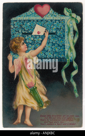 Valentine Card Cupid - Stock Photo