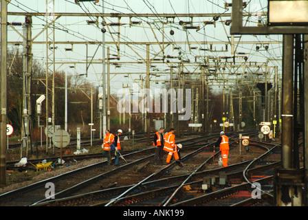 Railway maintenance workers on track maintenance - Stock Photo