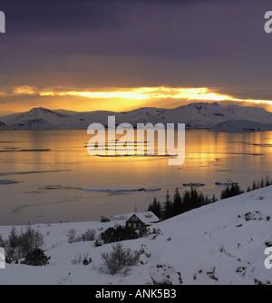 Lake Thingvellir National Park Iceland - Stock Photo