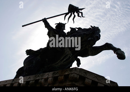 A statue of William the Conqueror in Falaise town centre, Normandy in Northern France - Stock Photo