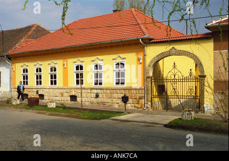 In the village Mad in Tokaj: A typical yellow house of the Hungarian region.