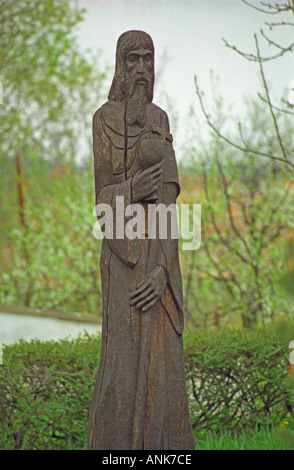 In the village Mad in Tokaj: A carved wooden sculpture with religious motive, typical for the region.