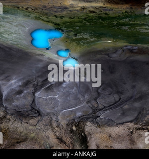 Aerial photo of rivers and lakes in the highlands of Iceland - Stock Photo