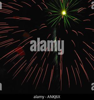 Firework burst-off high at the night sky - Stock Photo