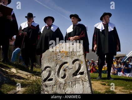 San Martin stone Tributo de las tres vacas festival Navarra Spain - Stock Photo