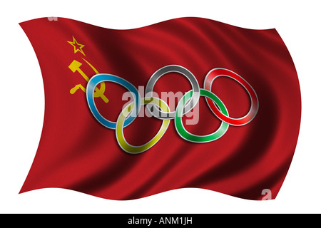 Flag Of The Soviet Union With Olympic Symbol Stock Photo 15555339