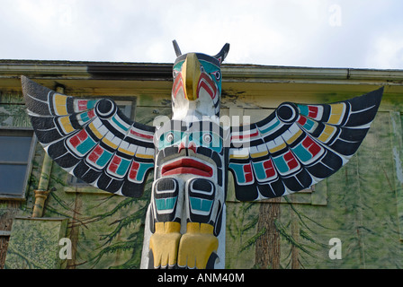 Duncan City of Totems Wooden Carved Painted Pole - Stock Photo