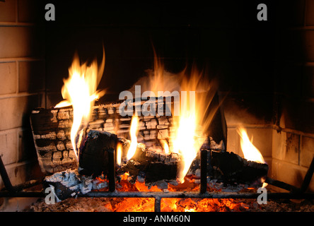 a fire burns in a fireplace with red coals - Stock Photo