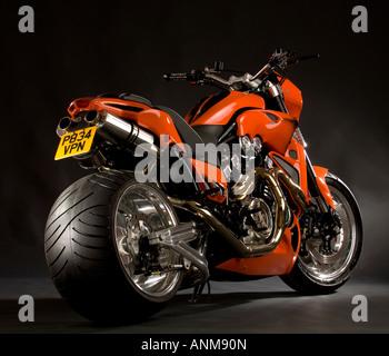 Bright Orange Yamaha V Max Vmax Bike Custom Cruiser Chopper Motorcycle With Huge Fat Rear