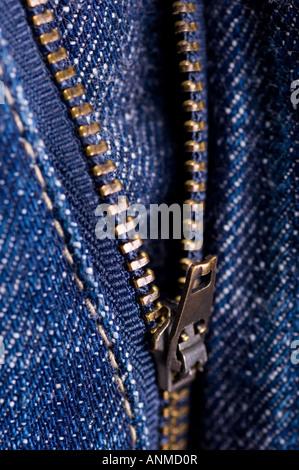 unzipped denim jeans zipper - Stock Photo