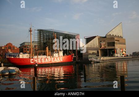 chesapeake lightship, USS Torsk Baltimore Maritime Museum and National Aquarium in Baltimore  November 2007 - Stock Photo