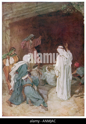 Jesus Revives Lazarus - Stock Photo