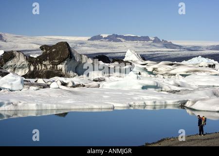 Jokulsarlon Glacial Lagoon Breidamerkurjokull glacier Vatnajokull Iceland - Stock Photo