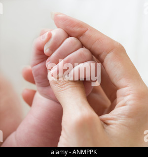 Close up of mother holding baby's hand - Stock Photo