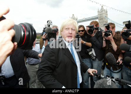 Conservative MP Boris Johnson is surrounded by members of the press as he announces that he is to stand the London - Stock Photo