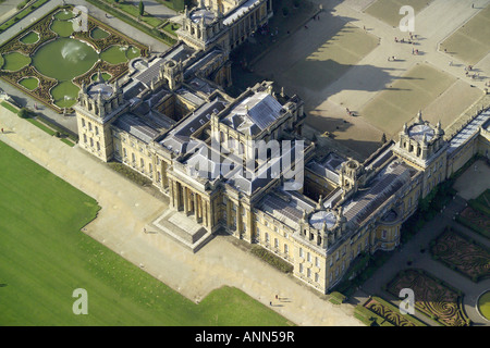 Aerial view of Blenheim Palace with it's formal gardens near Woodstock in Oxfordshire, once home to Winston Churchill - Stock Photo