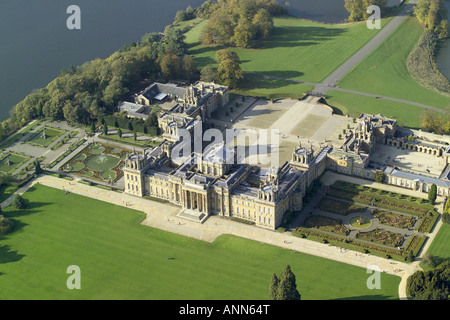 Aerial view of Blenheim Palace with it's lake and formal gardens near Woodstock in Oxfordshire, once home to Winston - Stock Photo