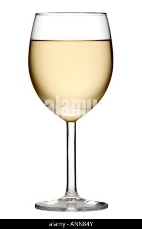 GLASS OF CHILLED WHITE WINE SHOT IN THE STUDIO , CUT OUT BACKGROUND - Stock Photo