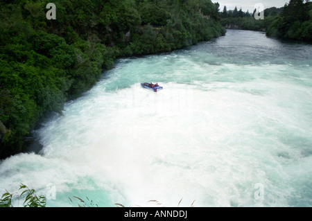 Jet boat on the Huka Falls, Taupo, North Island, New Zealand - Stock Photo